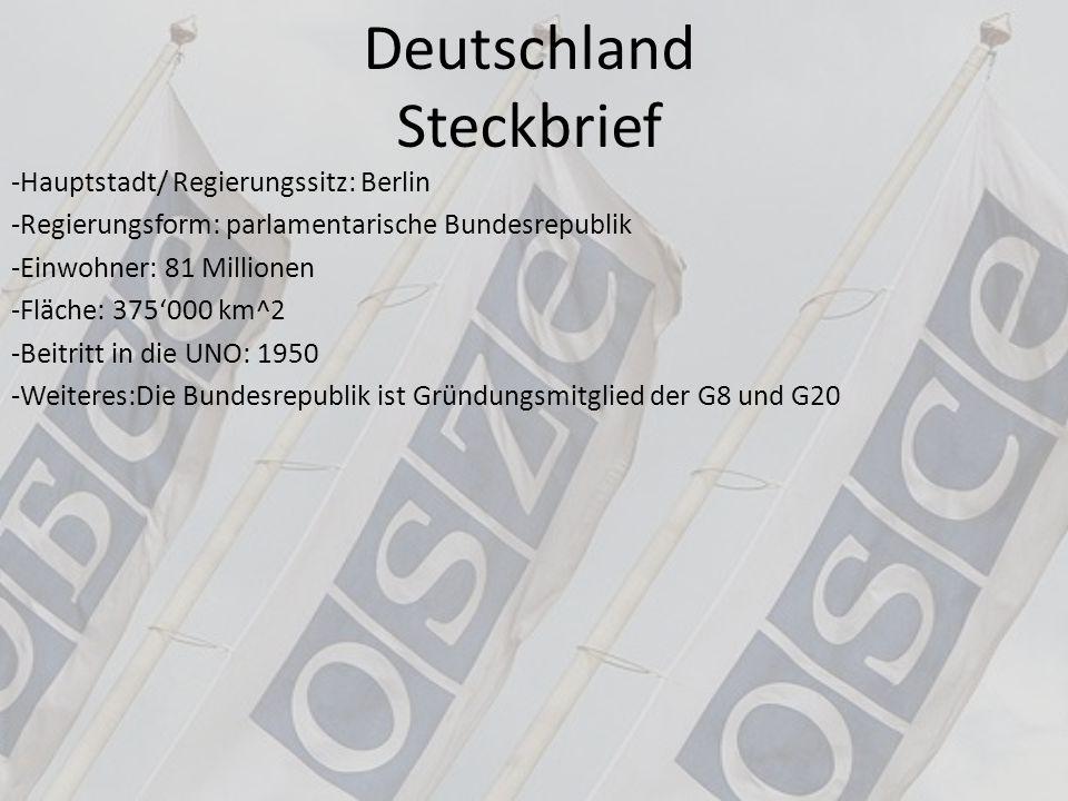 Deutschland Steckbrief -Hauptstadt/ Regierungssitz: Berlin -Regierungsform: parlamentarische Bundesrepublik -Einwohner: 81 Millionen -Fläche: 375'000
