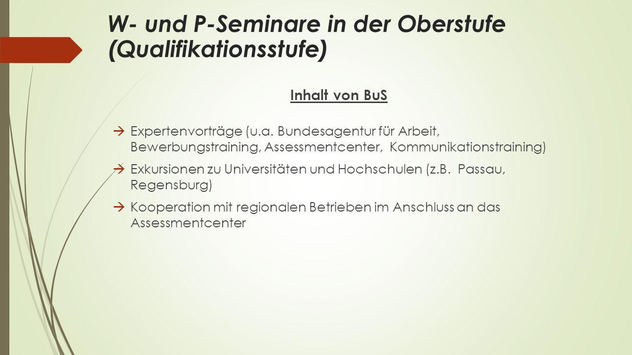 Inhalt von BuS  Expertenvorträge (u.a. Bundesagentur für Arbeit, Bewerbungstraining, Assessmentcenter, Kommunikationstraining)  Exkursionen zu Unive