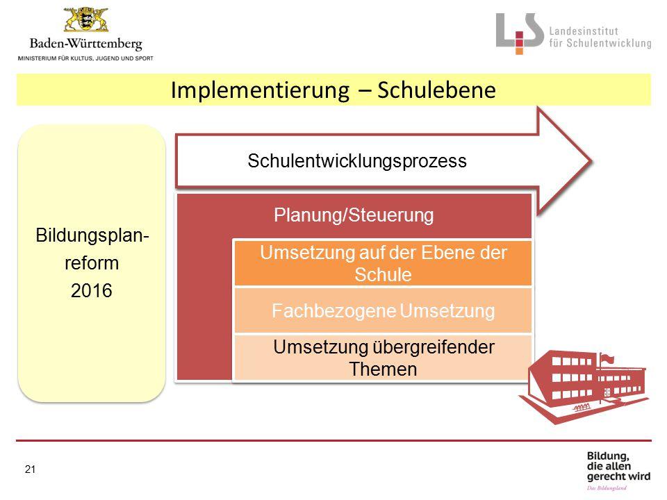 Implementierung – Schulebene Planung/Steuerung Umsetzung auf der Ebene der Schule Fachbezogene Umsetzung Umsetzung übergreifender Themen Bildungsplan- reform 2016 Bildungsplan- reform 2016 21