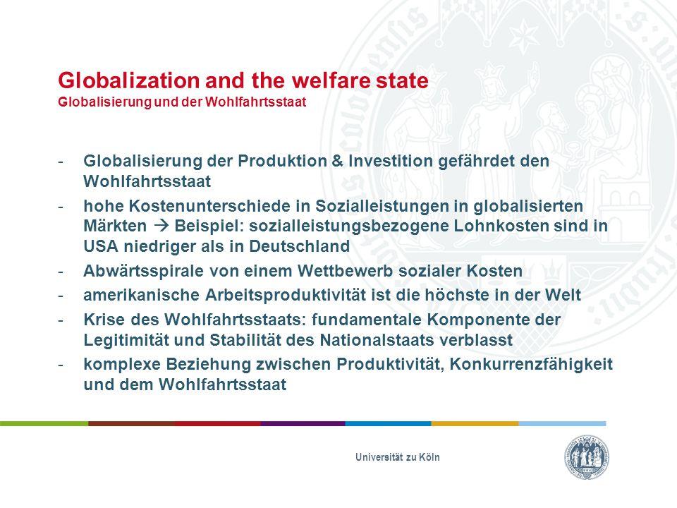 Globalization and the welfare state Globalisierung und der Wohlfahrtsstaat -Globalisierung der Produktion & Investition gefährdet den Wohlfahrtsstaat