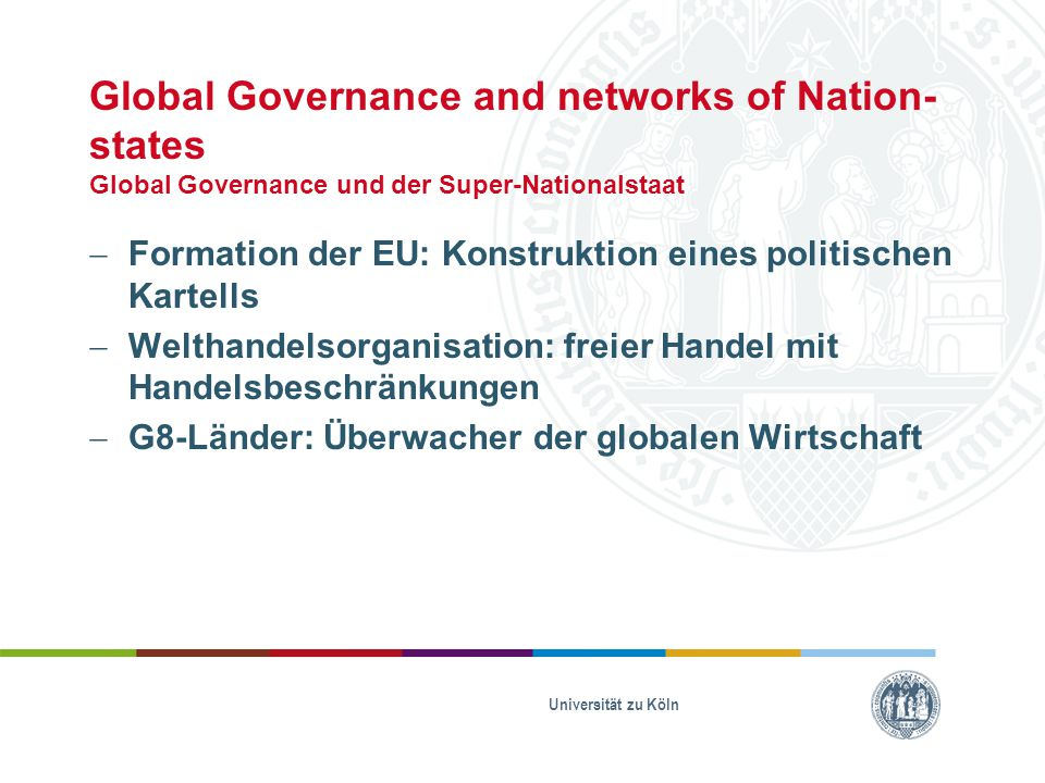 Global Governance and networks of Nation- states Global Governance und der Super-Nationalstaat  Formation der EU: Konstruktion eines politischen Kart