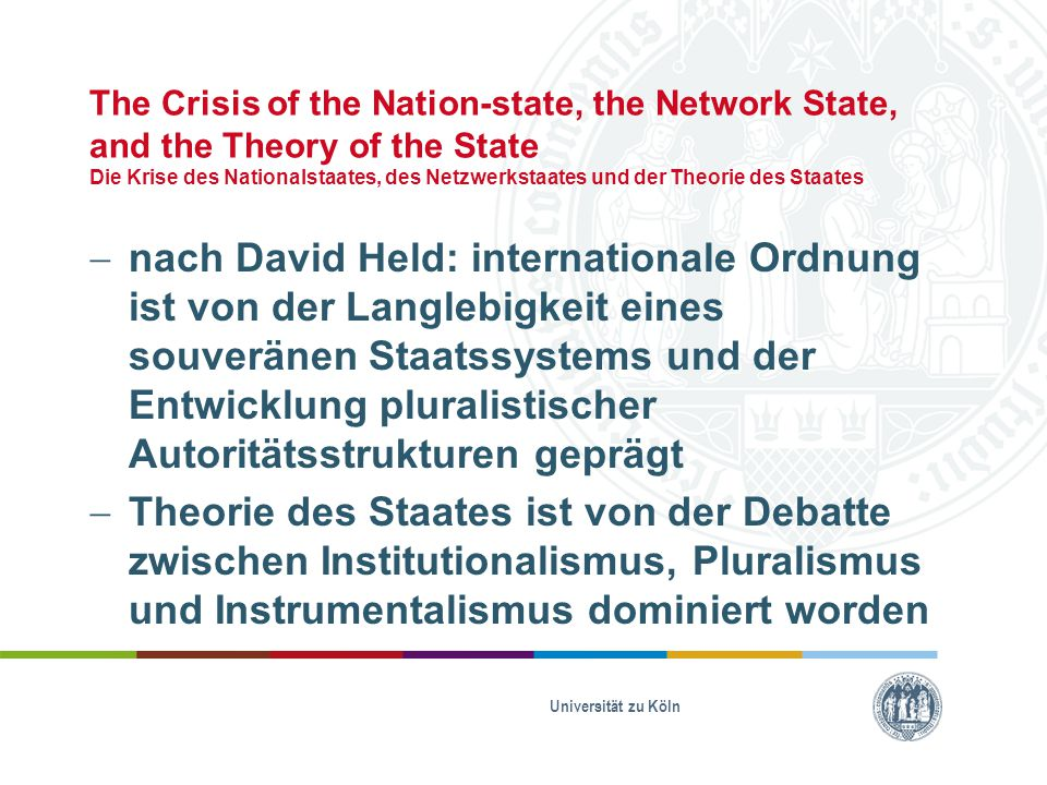 The Crisis of the Nation-state, the Network State, and the Theory of the State Die Krise des Nationalstaates, des Netzwerkstaates und der Theorie des
