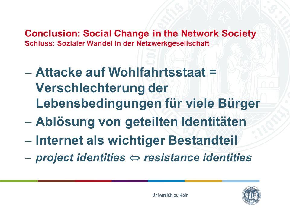 Conclusion: Social Change in the Network Society Schluss: Sozialer Wandel in der Netzwerkgesellschaft  Attacke auf Wohlfahrtsstaat = Verschlechterung