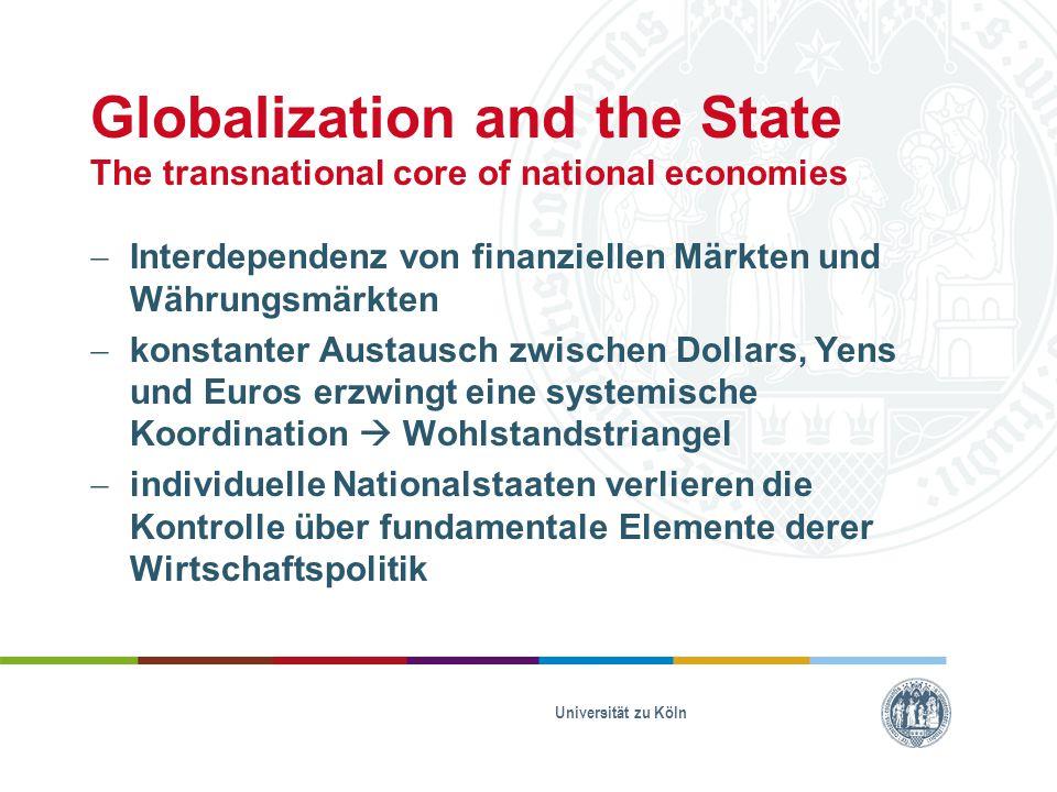 Globalization and the State The transnational core of national economies  EU: EZB bestimmt die Geldmarktpolitik und die Leitzinsen  UK & Schweden: von der Geldmarktpolitik der EU abhängig  Japan: Wirtschaftspolitik ist durch die Beziehung zwischen der Handelsbilanz und des Währungskurses mit der USA bestimmt  USA: selbstgenügsamste Wirtschaft Universität zu Köln