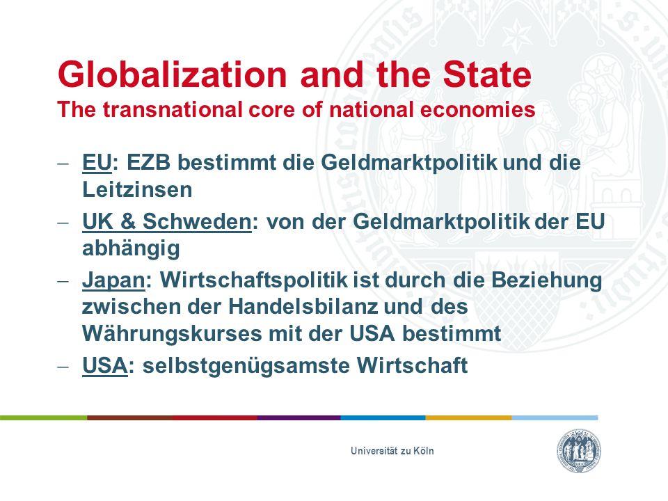 Globalization and the State The transnational core of national economies  EU: EZB bestimmt die Geldmarktpolitik und die Leitzinsen  UK & Schweden: v