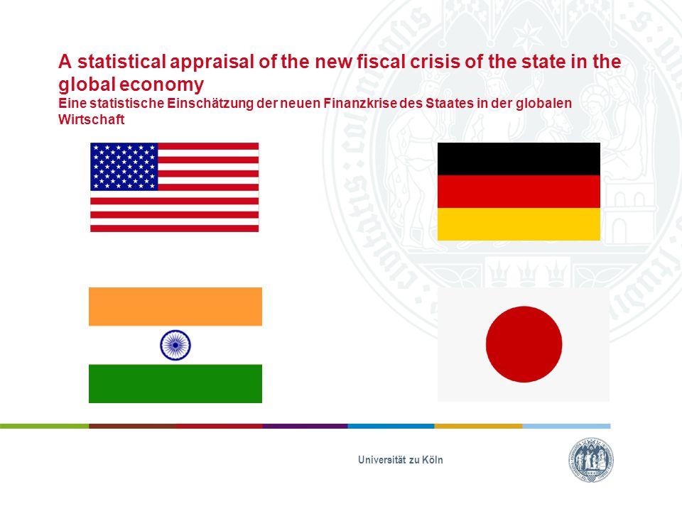 A statistical appraisal of the new fiscal crisis of the state in the global economy Eine statistische Einschätzung der neuen Finanzkrise des Staates in der globalen Wirtschaft USA:  Bundesregierung wurde von globalen Finanzmärkten und Auslandskreditwesen abhängig  zwischen 1980 und 1993:  Währungsreserven: +20%  Exporte: +133%  Staatsausgaben: +41,7% Universität zu Köln