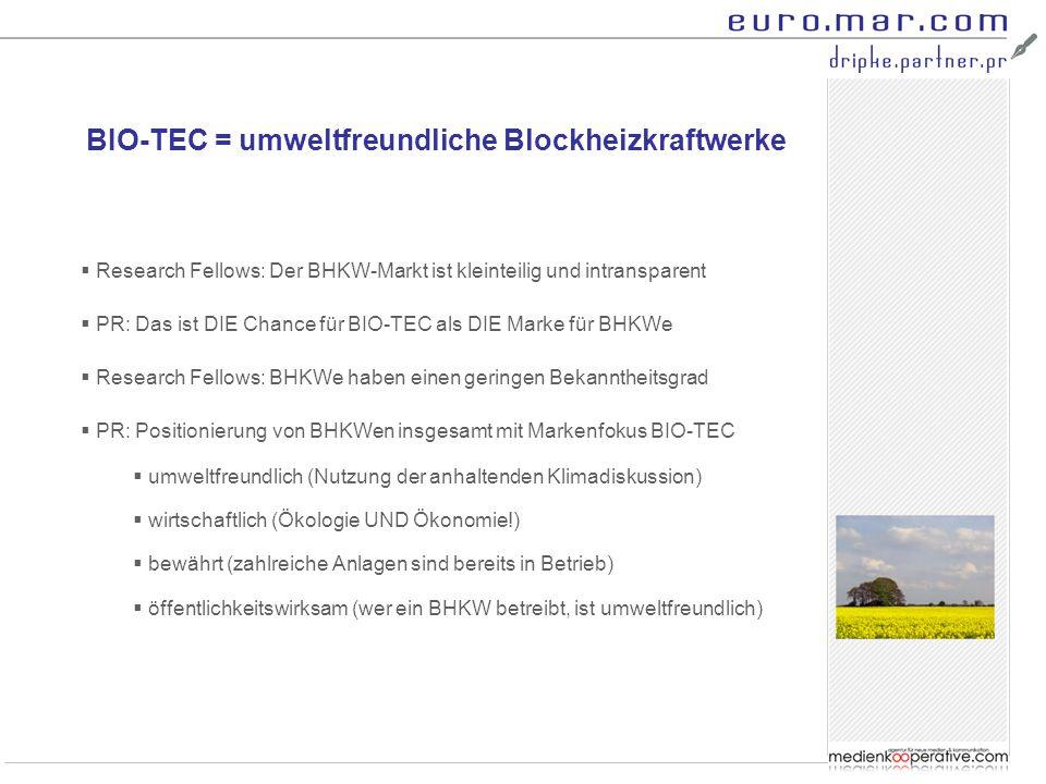 BIO-TEC = umweltfreundliche Blockheizkraftwerke  Research Fellows: Der BHKW-Markt ist kleinteilig und intransparent  PR: Das ist DIE Chance für BIO-
