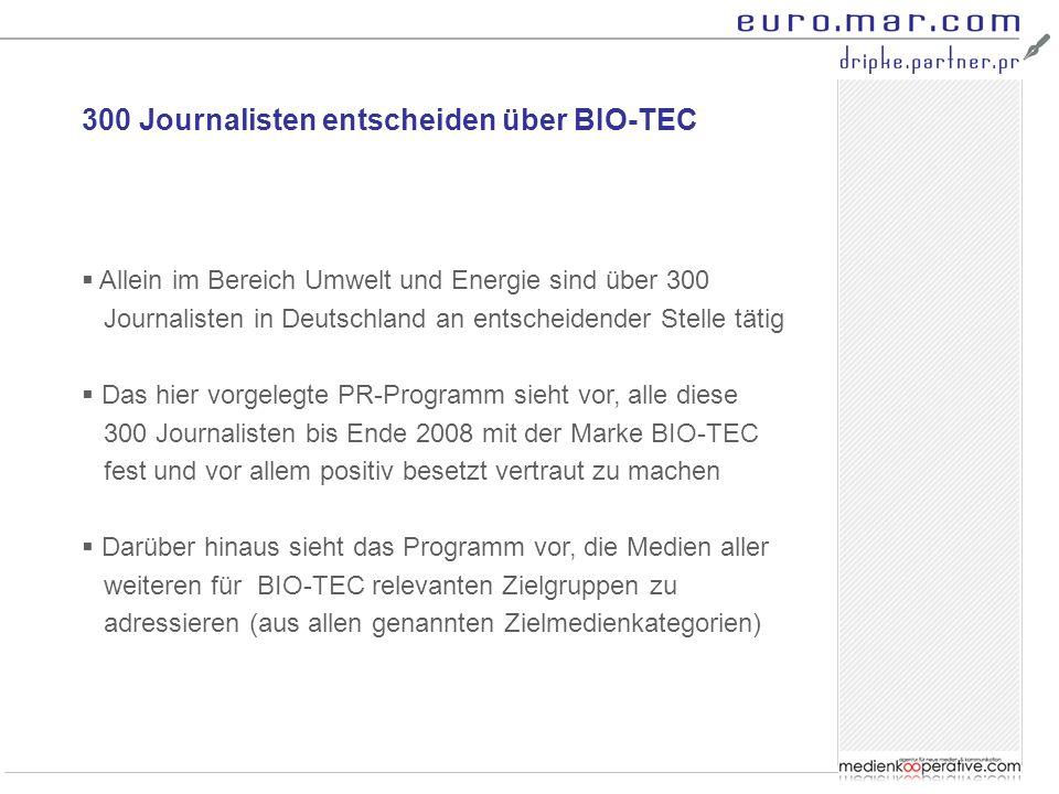 300 Journalisten entscheiden über BIO-TEC  Allein im Bereich Umwelt und Energie sind über 300 Journalisten in Deutschland an entscheidender Stelle tätig  Das hier vorgelegte PR-Programm sieht vor, alle diese 300 Journalisten bis Ende 2008 mit der Marke BIO-TEC fest und vor allem positiv besetzt vertraut zu machen  Darüber hinaus sieht das Programm vor, die Medien aller weiteren für BIO-TEC relevanten Zielgruppen zu adressieren (aus allen genannten Zielmedienkategorien)