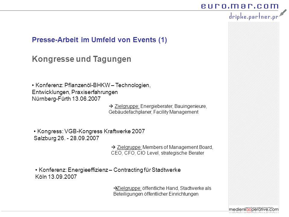 Presse-Arbeit im Umfeld von Events (1) Konferenz: Pflanzenöl-BHKW – Technologien, Entwicklungen, Praxiserfahrungen Nürnberg-Fürth 13.06.2007 Kongresse