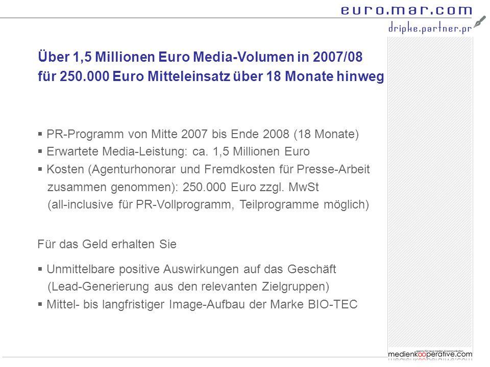 Über 1,5 Millionen Euro Media-Volumen in 2007/08 für 250.000 Euro Mitteleinsatz über 18 Monate hinweg  PR-Programm von Mitte 2007 bis Ende 2008 (18 M
