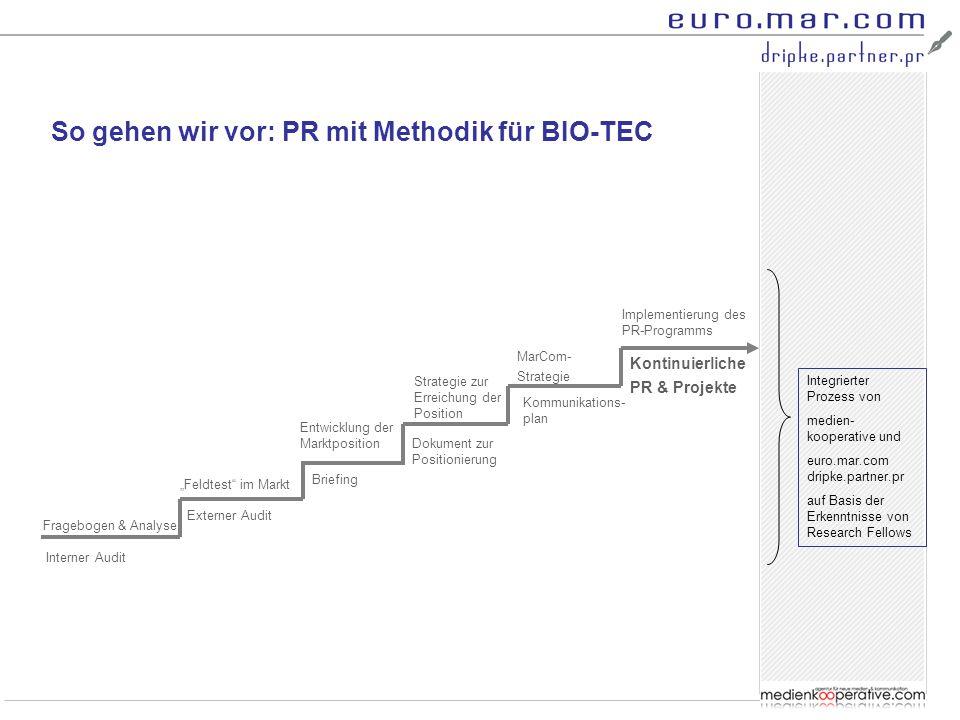 """So gehen wir vor: PR mit Methodik für BIO-TEC Interner Audit Fragebogen & Analyse """"Feldtest"""" im Markt Entwicklung der Marktposition Strategie zur Erre"""