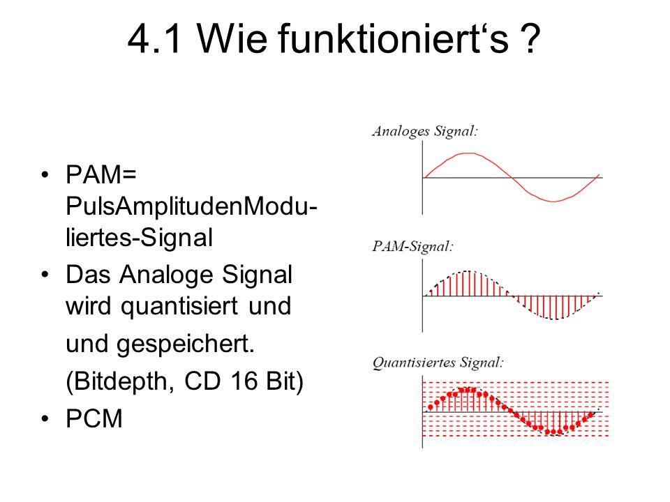4.1 Wie funktioniert's ? PAM= PulsAmplitudenModu- liertes-Signal Das Analoge Signal wird quantisiert und und gespeichert. (Bitdepth, CD 16 Bit) PCM