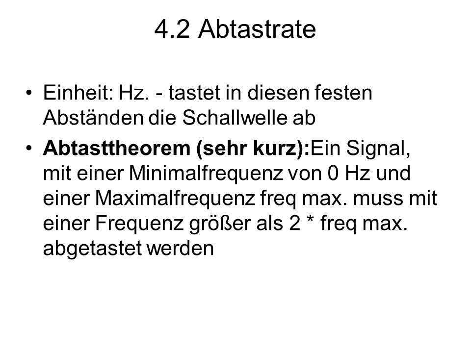 4.2 Abtastrate Einheit: Hz. - tastet in diesen festen Abständen die Schallwelle ab Abtasttheorem (sehr kurz):Ein Signal, mit einer Minimalfrequenz von