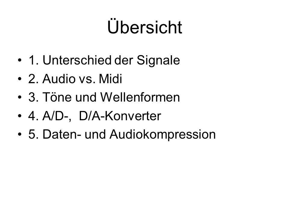 Übersicht 1. Unterschied der Signale 2. Audio vs. Midi 3. Töne und Wellenformen 4. A/D-, D/A-Konverter 5. Daten- und Audiokompression