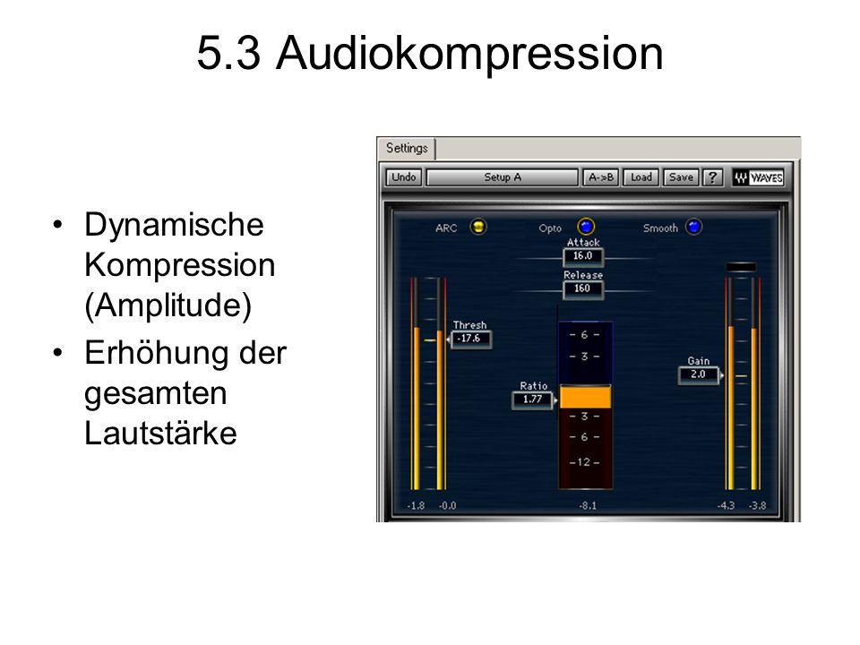 5.3 Audiokompression Dynamische Kompression (Amplitude) Erhöhung der gesamten Lautstärke