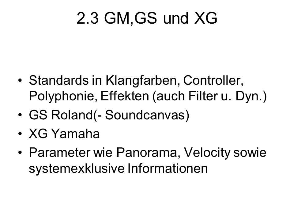 2.3 GM,GS und XG Standards in Klangfarben, Controller, Polyphonie, Effekten (auch Filter u. Dyn.) GS Roland(- Soundcanvas) XG Yamaha Parameter wie Pan