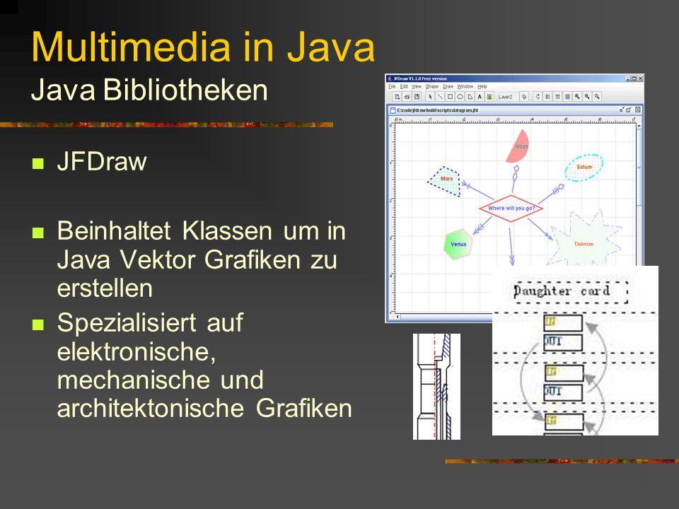 Multimedia in Java Java Bibliotheken Genuts Projekt Beispiel Unterstützt bei der Entwicklung von Spielen in Java Konzipiert für Web-Games und Handy-Spiele Beinhaltet hauptsächlich Klassen zur Unterstützung von sog.