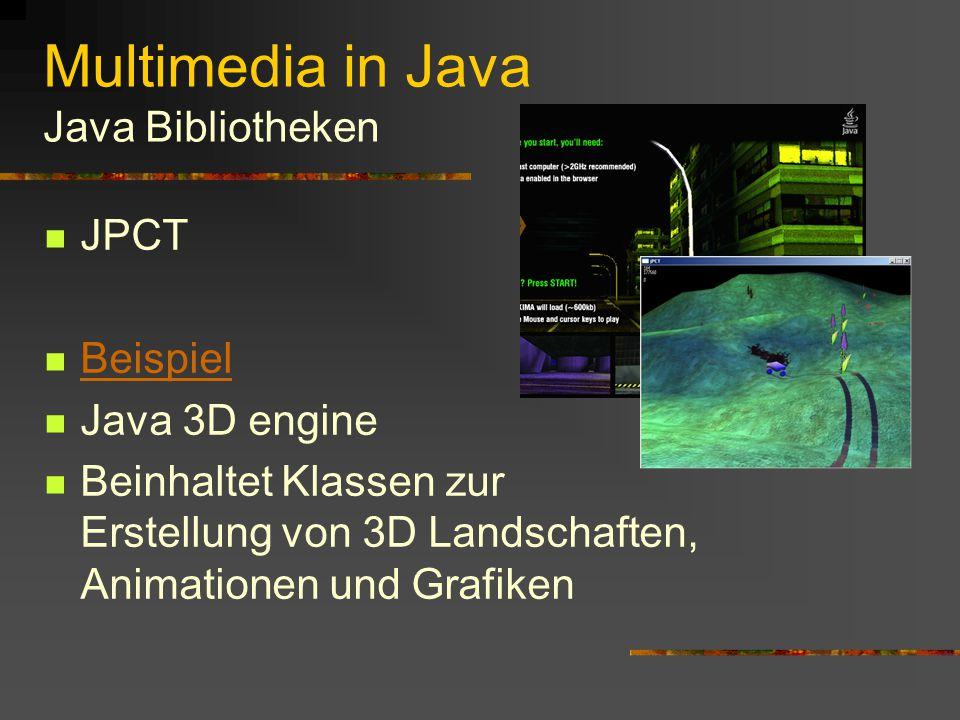 Multimedia in Java Java Bibliotheken JGo Interaktive Diagramme Netz-workflow editoren flowcharts