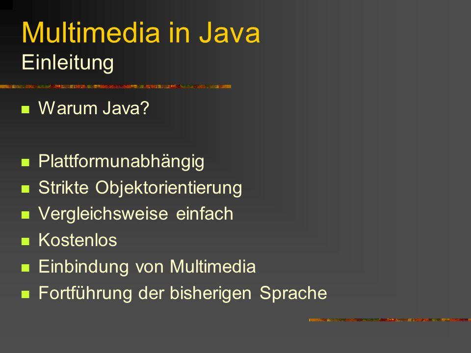 Multimedia in Java Übersicht Einleitung Welche Möglichkeiten gibt es.