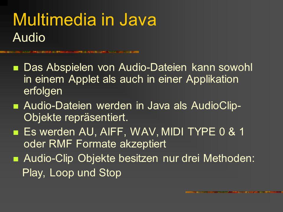 Multimedia in Java Bilder Anzeigen von Bilddateien Können innerhalb jeder grafikfähigen Komponente angezeigt werden JPEG oder GIF Format Betriebssystemgebundene Datentypen können nicht angezeigt werden (BMP)