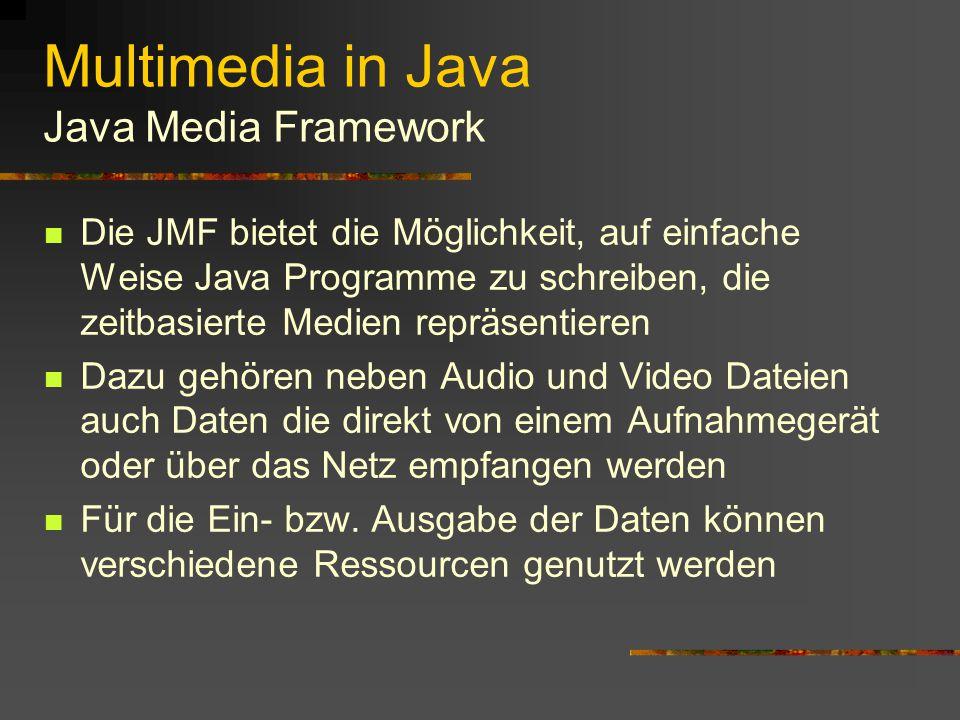 Multimedia in Java Audio Das Abspielen von Audio-Dateien kann sowohl in einem Applet als auch in einer Applikation erfolgen Audio-Dateien werden in Java als AudioClip- Objekte repräsentiert.