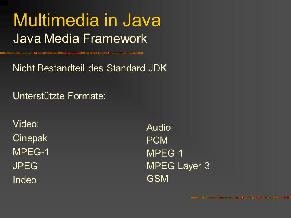 Multimedia in Java Java Media Framework Die JMF bietet die Möglichkeit, auf einfache Weise Java Programme zu schreiben, die zeitbasierte Medien repräsentieren Dazu gehören neben Audio und Video Dateien auch Daten die direkt von einem Aufnahmegerät oder über das Netz empfangen werden Für die Ein- bzw.