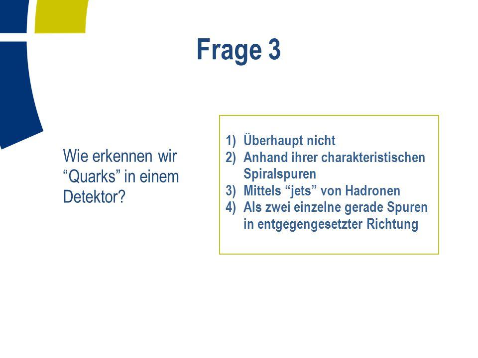Frage 4 Teilchen, welche die starke Kraft übertragen, heißen: 1) Photonen 2) Gluonen 3) Z- oder W-Bosonen 4) Keins davon