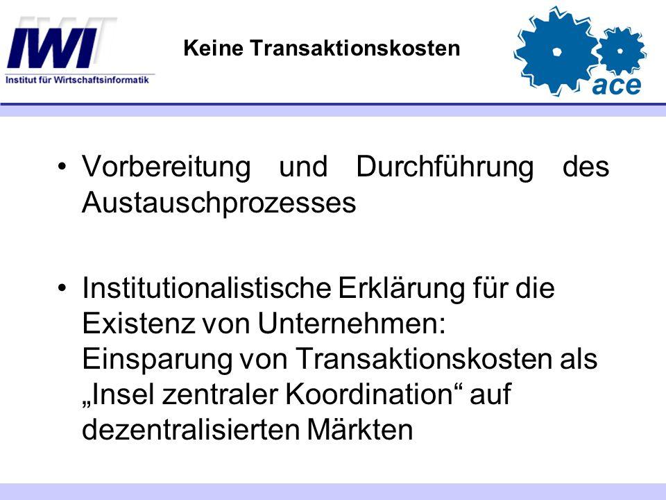 """Keine Transaktionskosten Vorbereitung und Durchführung des Austauschprozesses Institutionalistische Erklärung für die Existenz von Unternehmen: Einsparung von Transaktionskosten als """"Insel zentraler Koordination auf dezentralisierten Märkten"""