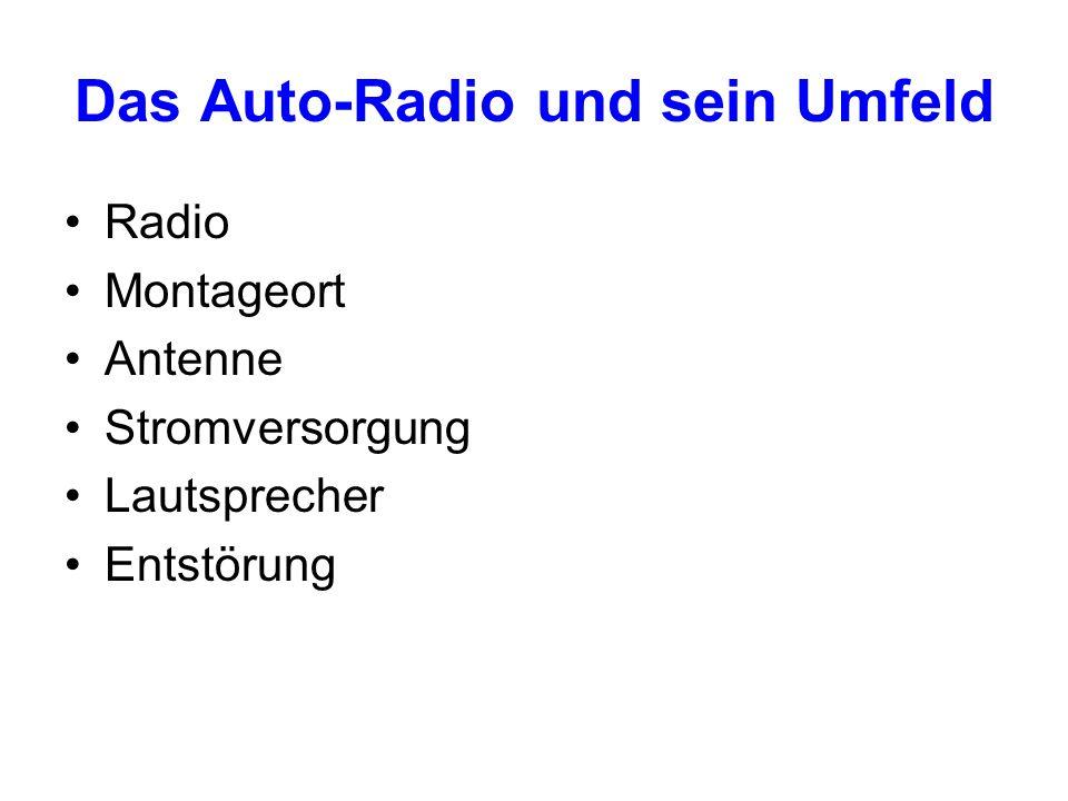 Das Auto-Radio und sein Umfeld Radio Montageort Antenne Stromversorgung Lautsprecher Entstörung