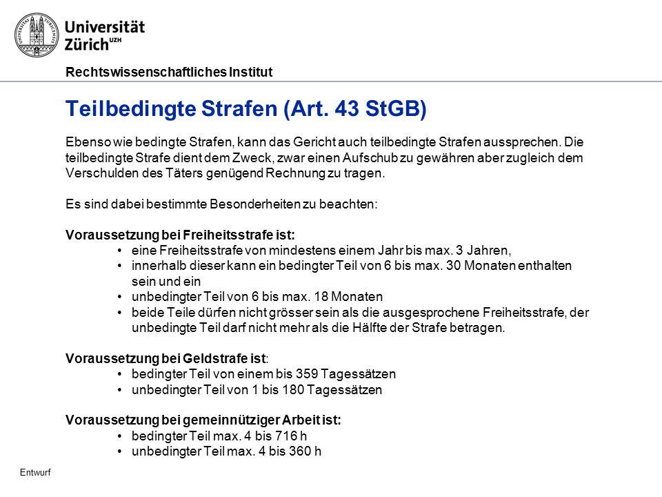 Rechtswissenschaftliches Institut Entwurf Strafzumessung (Art.