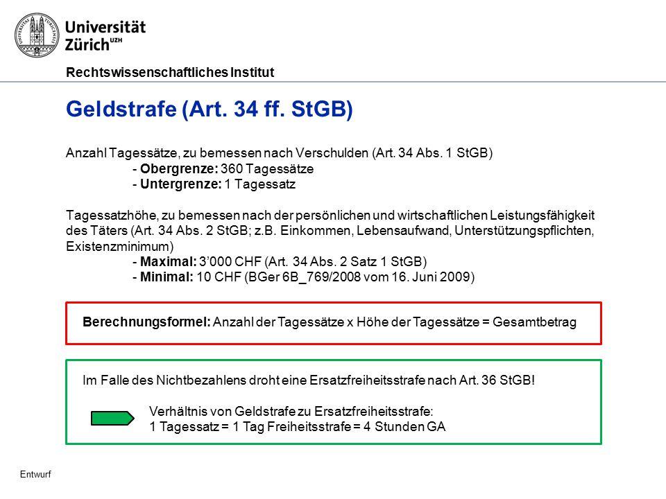Rechtswissenschaftliches Institut Entwurf Gemeinnützige Arbeit (GA) (Art.