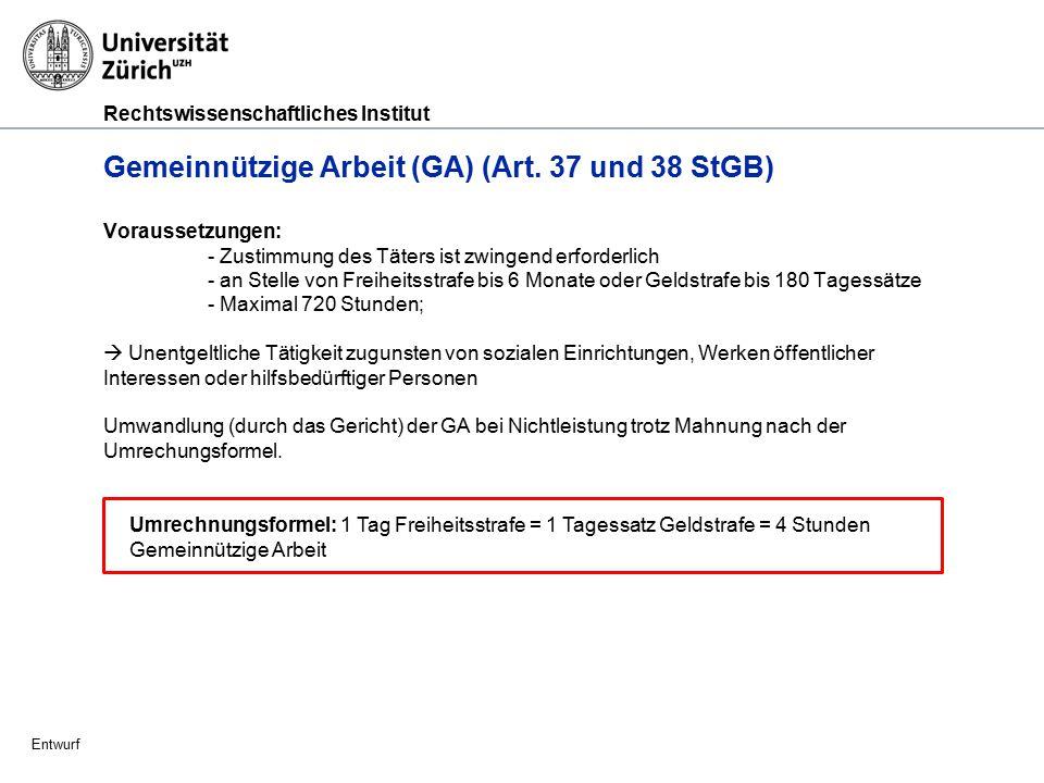 Rechtswissenschaftliches Institut Entwurf Freiheitsstrafe (Art.
