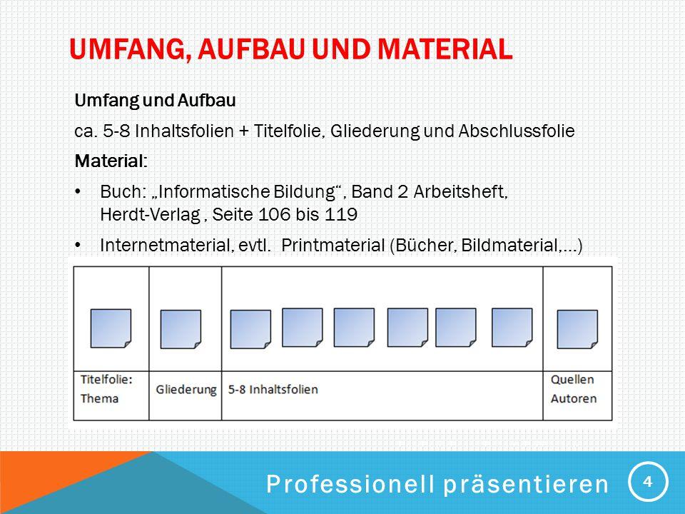 PROFESSIONELL PRÄSENTIEREN UMFANG, AUFBAU UND MATERIAL Umfang und Aufbau ca. 5-8 Inhaltsfolien + Titelfolie, Gliederung und Abschlussfolie Material: B