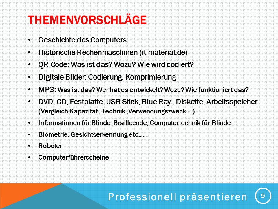 PROFESSIONELL PRÄSENTIEREN THEMENVORSCHLÄGE Geschichte des Computers Historische Rechenmaschinen (it-material.de) QR-Code: Was ist das? Wozu? Wie wird