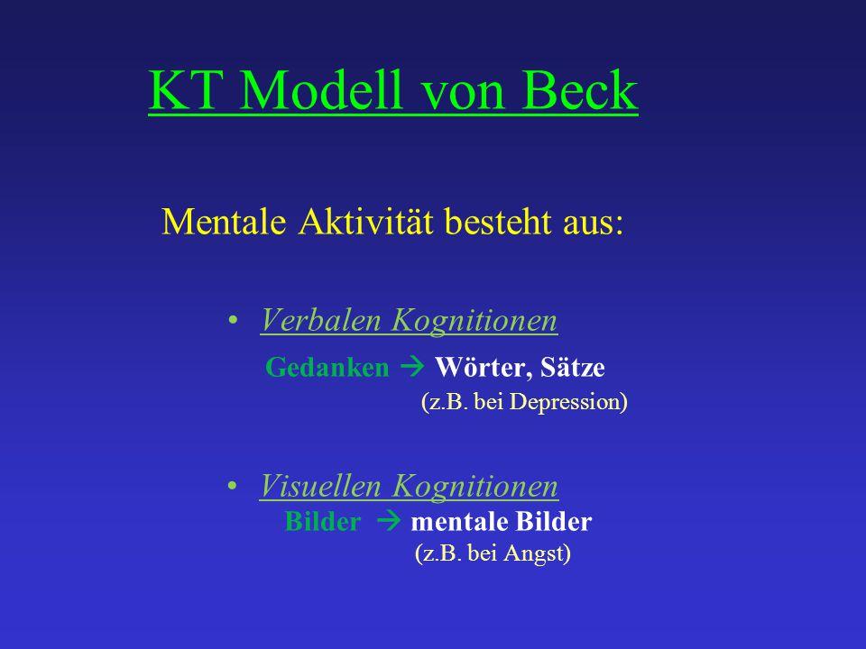 KT Modell von Beck Mentale Aktivität besteht aus: Verbalen Kognitionen Gedanken  Wörter, Sätze (z.B. bei Depression) Visuellen Kognitionen Bilder  m
