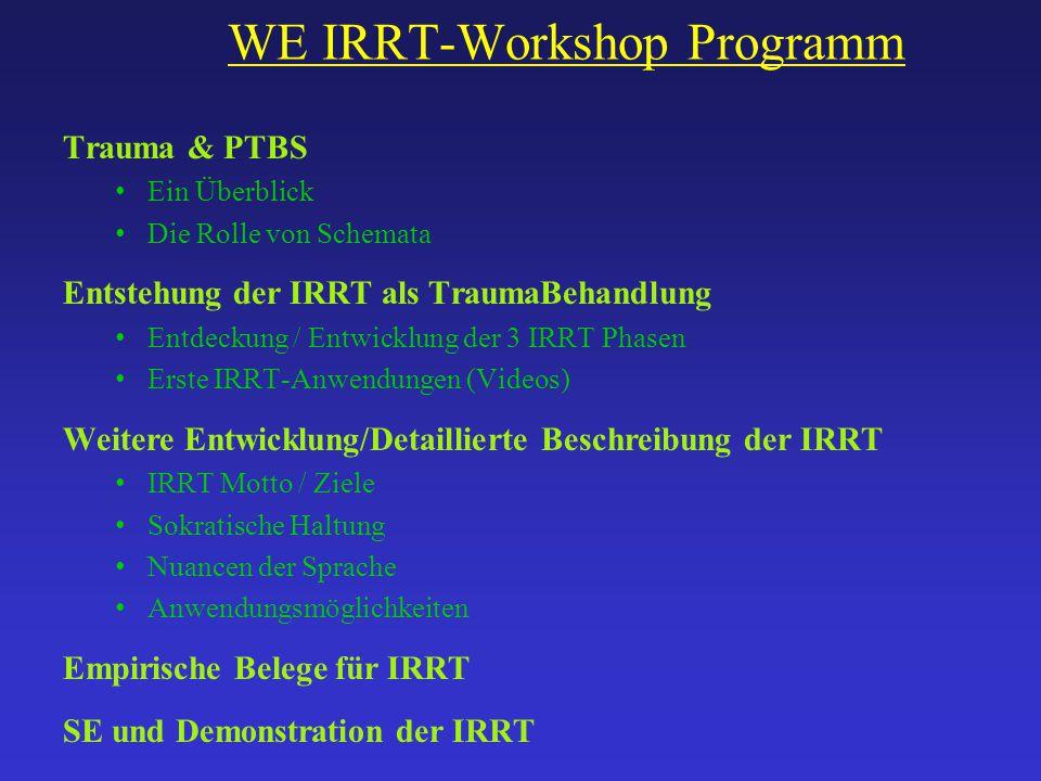 WE IRRT-Workshop Programm Trauma & PTBS Ein Überblick Die Rolle von Schemata Entstehung der IRRT als TraumaBehandlung Entdeckung / Entwicklung der 3 I