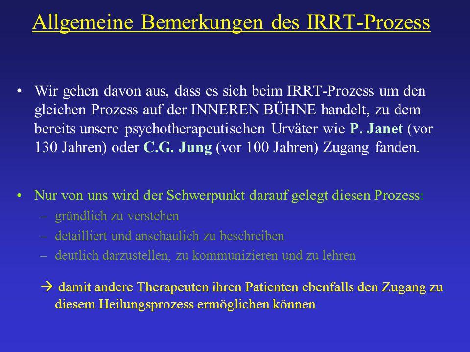 Allgemeine Bemerkungen des IRRT-Prozess Wir gehen davon aus, dass es sich beim IRRT-Prozess um den gleichen Prozess auf der INNEREN BÜHNE handelt, zu