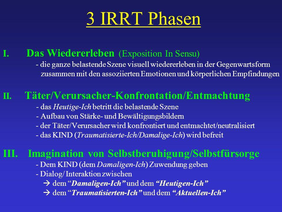 3 IRRT Phasen I. Das Wiedererleben (Exposition In Sensu) - die ganze belastende Szene visuell wiedererleben in der Gegenwartsform zusammen mit den ass