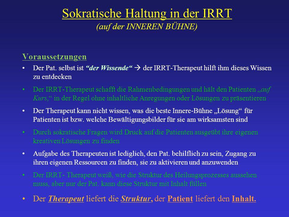 """Sokratische Haltung in der IRRT (auf der INNEREN BÜHNE) Voraussetzungen Der Pat. selbst ist """"der Wissende""""  der IRRT-Therapeut hilft ihm dieses Wisse"""
