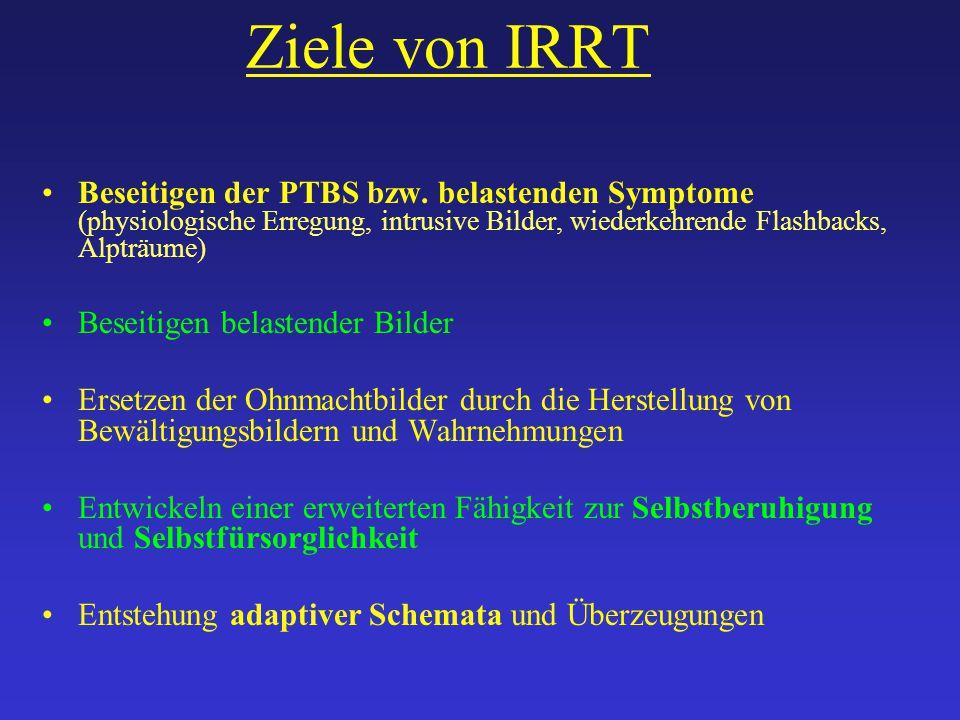 Ziele von IRRT Beseitigen der PTBS bzw. belastenden Symptome (physiologische Erregung, intrusive Bilder, wiederkehrende Flashbacks, Alpträume) Beseiti