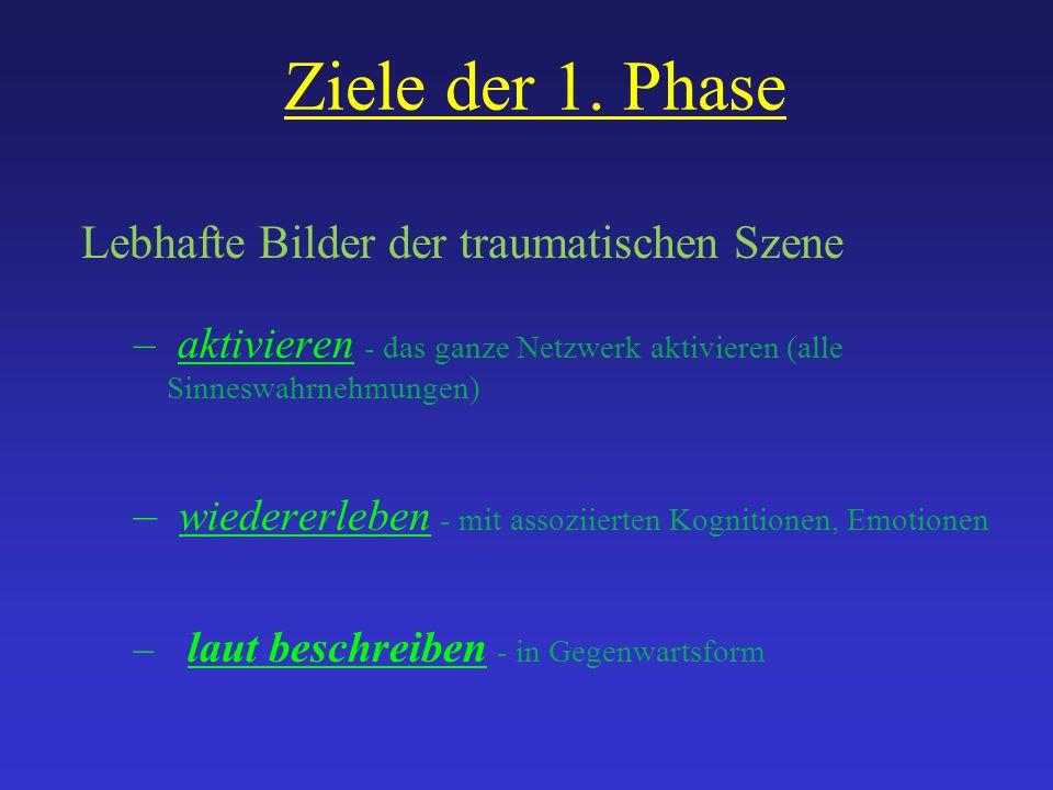 Ziele der 1. Phase Lebhafte Bilder der traumatischen Szene – aktivieren - das ganze Netzwerk aktivieren (alle Sinneswahrnehmungen) – wiedererleben - m