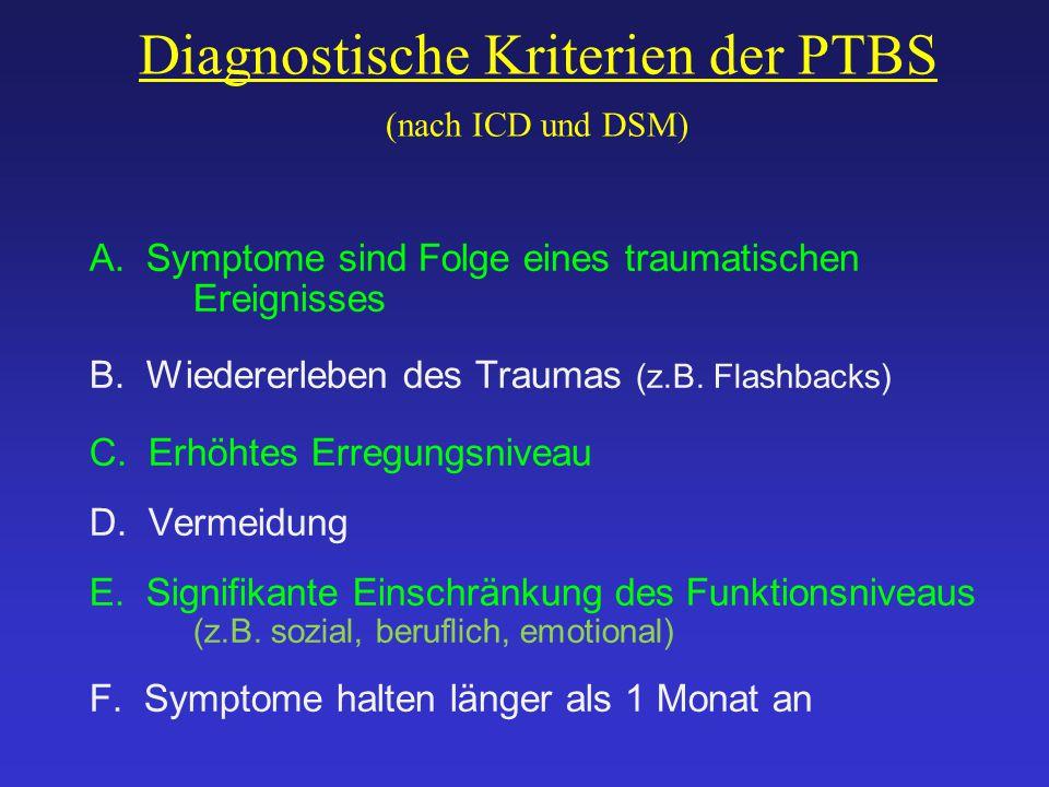 Diagnostische Kriterien der PTBS (nach ICD und DSM) A. Symptome sind Folge eines traumatischen Ereignisses B. Wiedererleben des Traumas (z.B. Flashbac