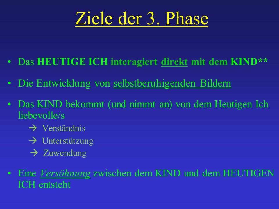 Ziele der 3. Phase Das HEUTIGE ICH interagiert direkt mit dem KIND** Die Entwicklung von selbstberuhigenden Bildern Das KIND bekommt (und nimmt an) vo
