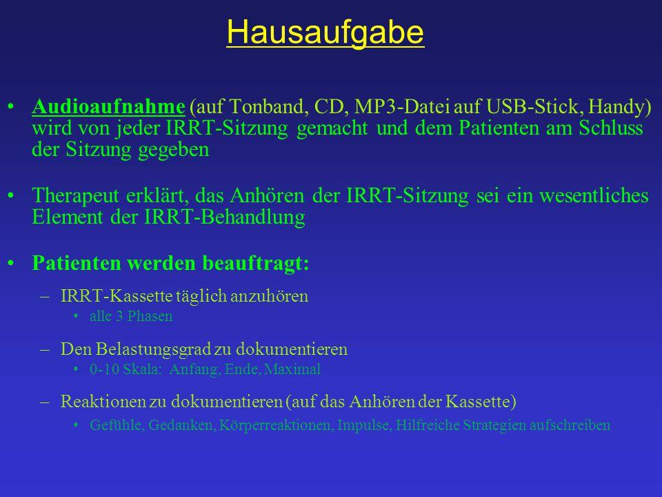 Hausaufgabe Audioaufnahme (auf Tonband, CD, MP3-Datei auf USB-Stick, Handy) wird von jeder IRRT-Sitzung gemacht und dem Patienten am Schluss der Sitzu