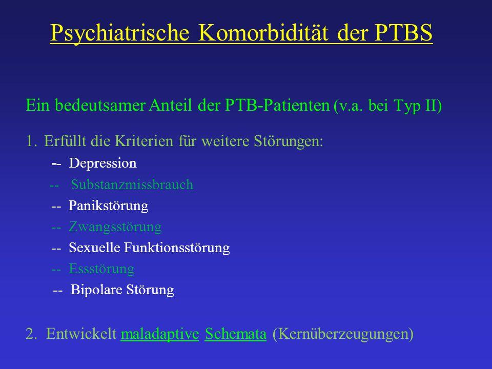 Psychiatrische Komorbidität der PTBS Ein bedeutsamer Anteil der PTB-Patienten (v.a. bei Typ II) 1.Erfüllt die Kriterien für weitere Störungen: - - Dep