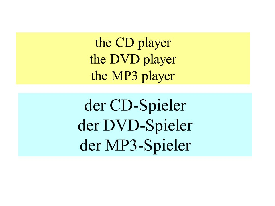 the CD player the DVD player the MP3 player der CD-Spieler der DVD-Spieler der MP3-Spieler