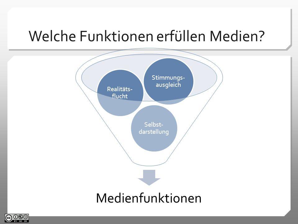 Medienfunktionen Selbst- darstellung Realitäts- flucht Stimmungs- ausgleich Welche Funktionen erfüllen Medien?
