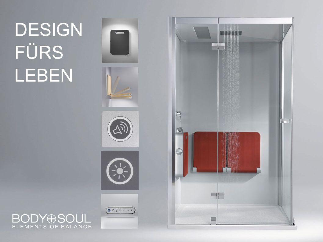 BODY+SOUL Tür in Nische, mit Wandblenden, 140x90cm, mit Aromatherapie, Audio, Farblicht und Kopfbrause, Dampfbox und Sitzbank in Anthrazit