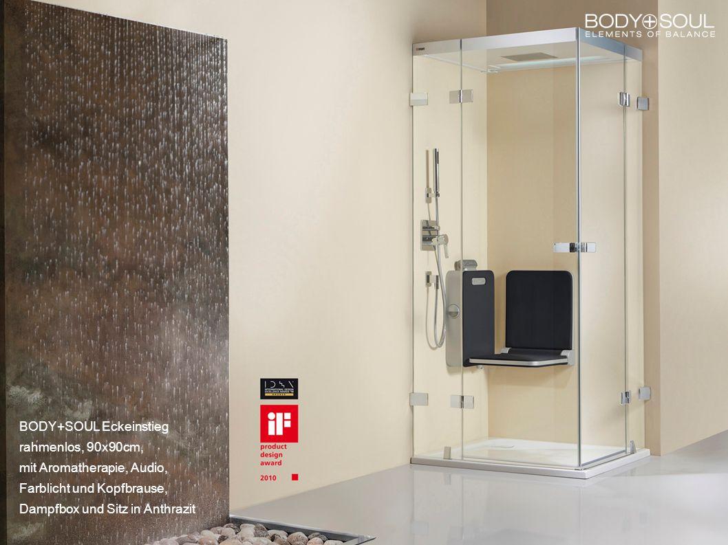 BODY+SOUL Eckeinstieg rahmenlos, 90x90cm, mit Aromatherapie, Audio, Farblicht und Kopfbrause, Dampfbox und Sitz in Anthrazit