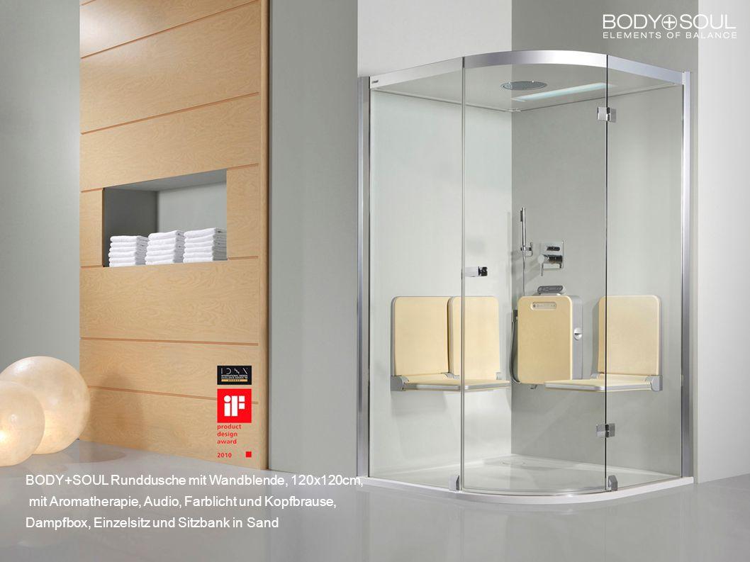 BODY+SOUL Runddusche mit Wandblende, 120x120cm, mit Aromatherapie, Audio, Farblicht und Kopfbrause, Dampfbox, Einzelsitz und Sitzbank in Sand
